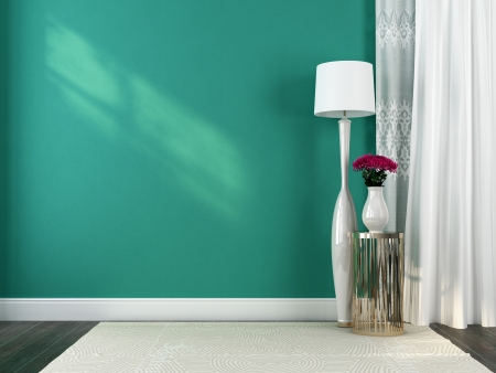 Beautiful floor lamp and a metal table against the background of openwork curtains and blue wall photo