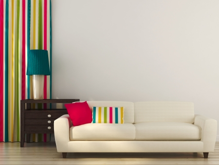 Bright composition consisting of a white sofa, colored pillows, curtains and drawer unit with table lamp