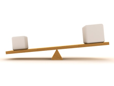 overbalance: Overbalance between one small figures and one large, which are located on the wooden stake.