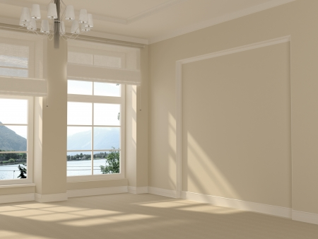 A beautiful and spacious room in white with large windows with a nice view