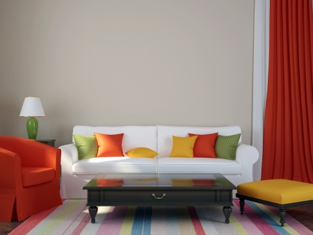 Colorful composition made in a trendy eclectic style, consisting of a sofa, armchair, pouf, coffee table and curtains