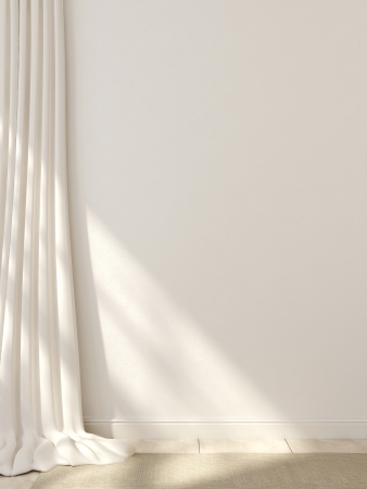 curtain: White curtains, baseboards and carpet against a white wall  Stock Photo