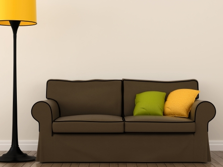 yellow lamp: The composition of a small brown sofa with colorful cushions and yellow floor lamp Stock Photo