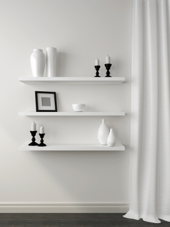 three shelves: Composition in black and white, is composed of curtains and three shelves with decor