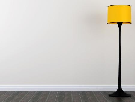 Brillante lámpara de pie de color amarillo sobre una pared blanca y parquet oscuro