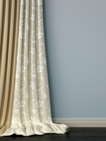 skirting: Beautiful beige curtains against the blue wall and dark parquet Stock Photo