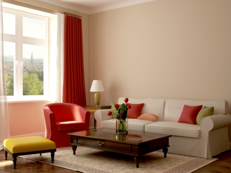 Colorful composition made in a trendy eclectic style, consisting of a sofa, armchair, pouf, coffee table and a wonderful view from the window Stock Photo