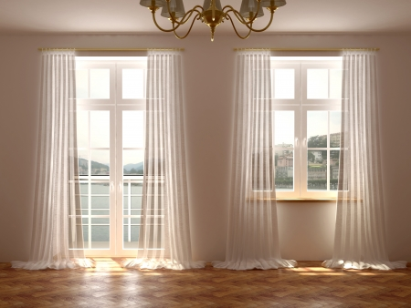 clean window: Empty room with a wonderful view from the windows and balcony door which are decorated with white curtains