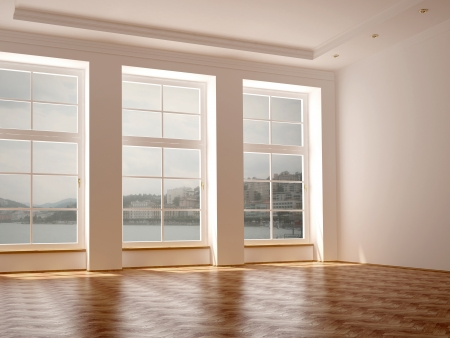 Empty room in classical style with elegance parquet and large windows with views of the lake