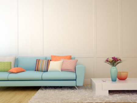 Bright composition of a light blue sofa with cushions  and a white table on the white carpet  photo