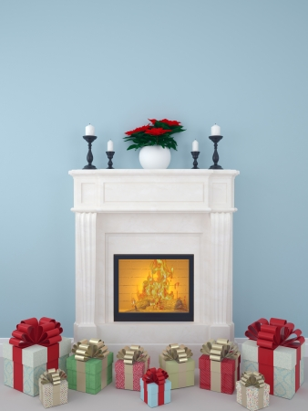 Beautiful white fireplace decorated for the Christmas holidays and Multicoloured gifts near photo