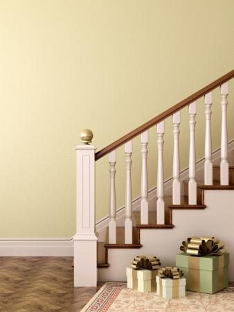 Gift boxes in the elegant staircase in classical style
