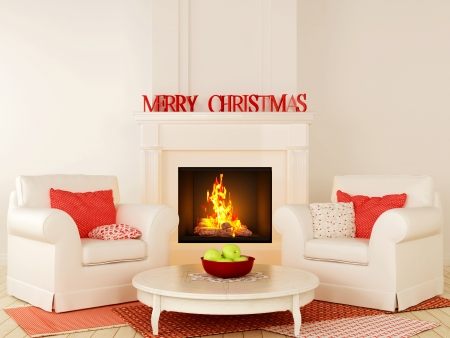 center table: Christmas interior in red and white color with fireplace in the center of the composition, comfortable chairs and a nice little round table in the center