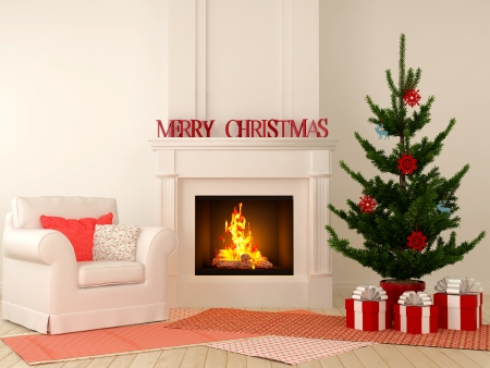 Christmas interior  with fireplace in the center of the composition, comfortable chairs and a Christmas tree with presents. photo