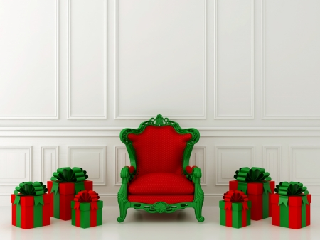 red chair: Luxurious red chair Santa Claus and gifts around