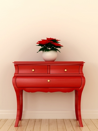 dresser: Composition in the style of Christmas with bright red chest and plants on it