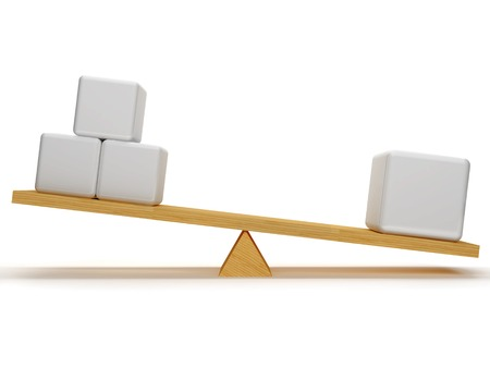 overbalance: Overbalance between one big figures and three small, which are located on the wooden stake.