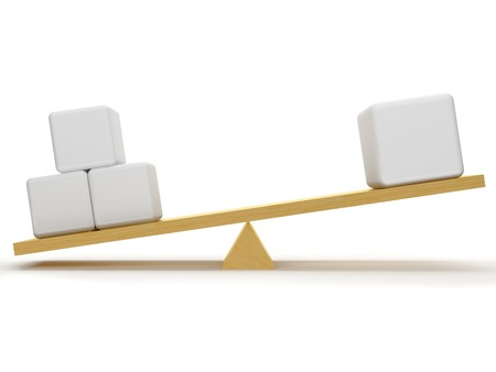 overbalance: Overbalance between three small and one big figures, which are located on the wooden stake.