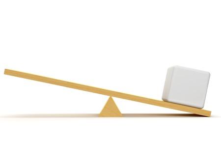 balanza en equilibrio: Escalas con un cubo blanco que crea una ventaja en su lado