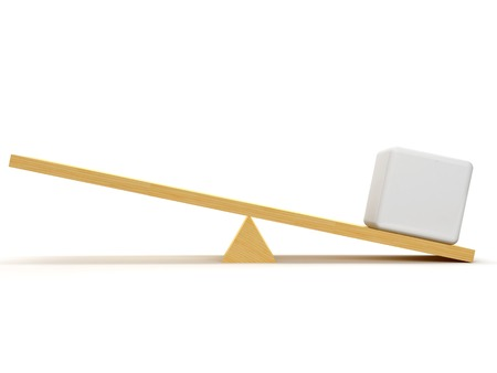 balance scale: Scales with one white cube that creates an advantage in his side