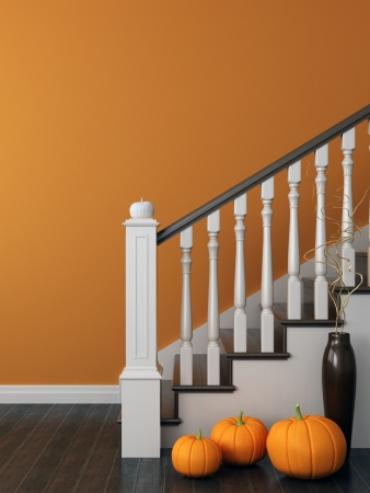 3d halloween: Colorful composition with classical staircase, which decorated for Halloween and posted on the background of bright orange wall Stock Photo