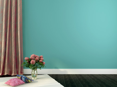 skirting: Romantic interior composition with vase of flowers and pillows on a background of blue walls and curtains of guipure Stock Photo