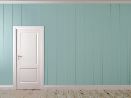 Asymmetrical composition with white door on the blue wall with vertical decor Stock Photo - 25858410