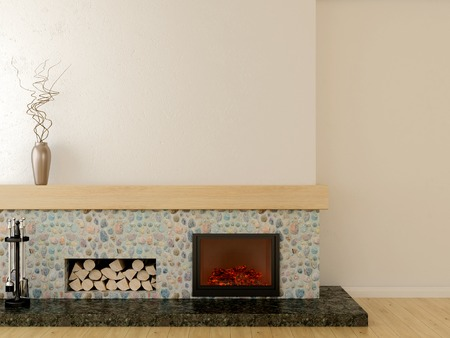 stone fireplace: Fireplace in modern style, located on a marble pedestal