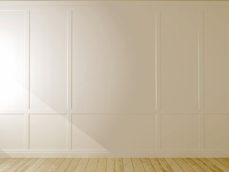 White wall and light parquet