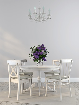Interior in Provence style, consisting of shabby white chairs and the dining table decorated  Banco de Imagens