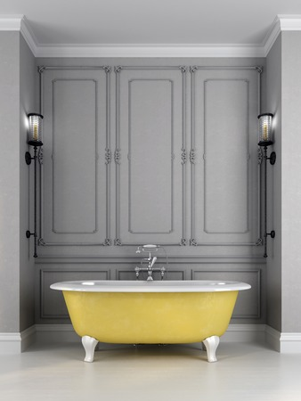 Bathroom in classic style, consisting of the bright yellow bath against a gray wall which is decorated with a pattern and sconces on sides photo