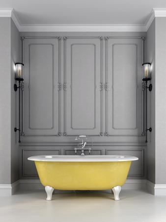 Salle de bains dans un style classique, composée de bain jaune vif contre  un mur gris qui est décoré d\'un motif et appliques sur les côtés