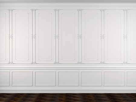 Classical interior of a white wall and a dark floor