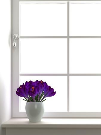 windowsill: White Vase with crocuses on a window sill Stock Photo