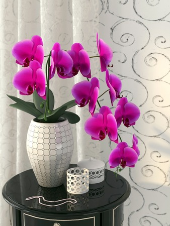 3d flower: Beautiful pink orchid in black and white interior