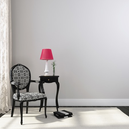 table lamp: Interior in black and white and an emphasis on the pink table lamp Stock Photo
