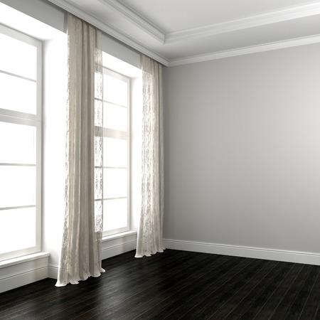 wengue: Interior en tonos blancos con parquet wengu� y unas hermosas cortinas guipur Foto de archivo