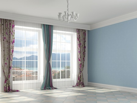 Colorful interior with blue colored walls and colorful curtains Banco de Imagens