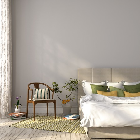 bedding indoors: Beautiful bedroom in beige colors and green decor that imparts to the composition spring mood