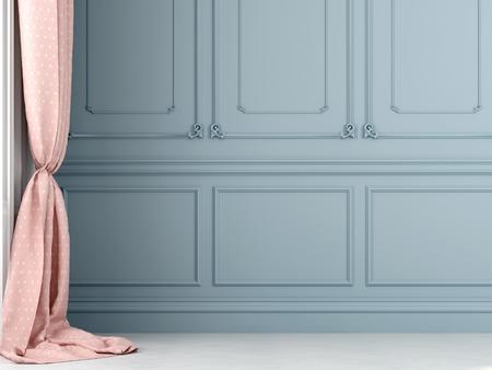 몰딩으로 장식되어 파란색 벽의 배경에 핑크 폴카 도트 커튼