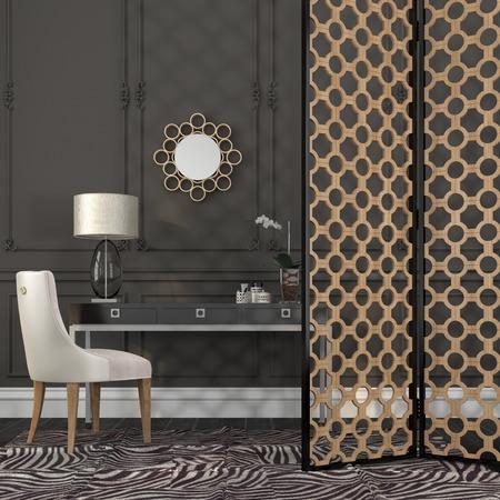 Elegant white chair and black desk against a dark wall with decor Standard-Bild