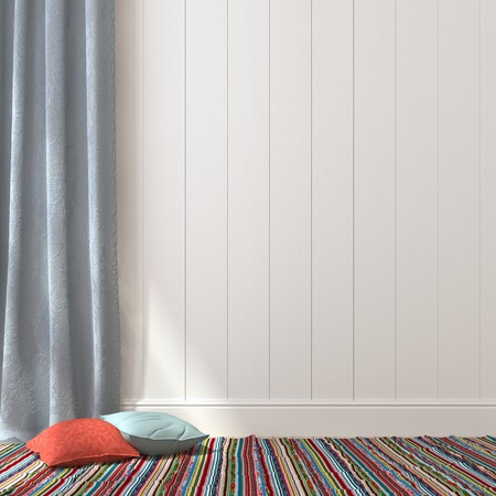 Colorful cushions and carpet near the blue curtains and a white wall