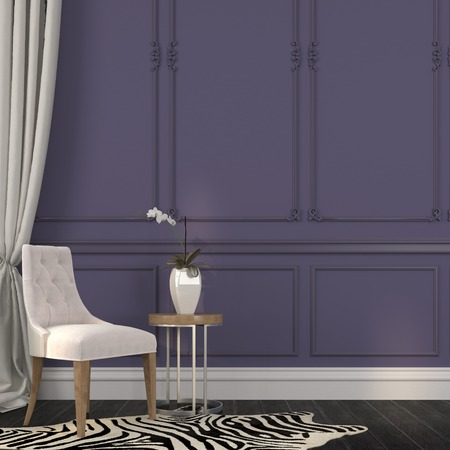 apartment interior: Elegant chair and table on a background of purple walls and zebra skins on the floor