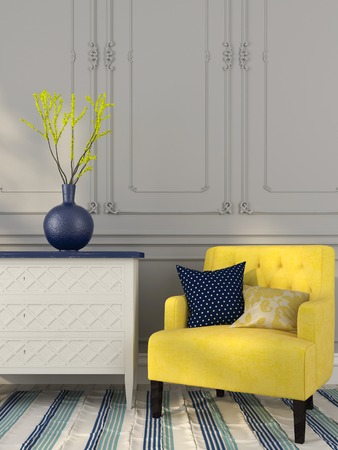 chest of drawers: Classic white chest of drawers and the yellow chair with blue decor