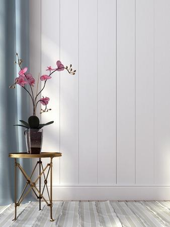 Rosa Orchidee und einen Metalltisch vor einer weißen Wand Standard-Bild - 29302798