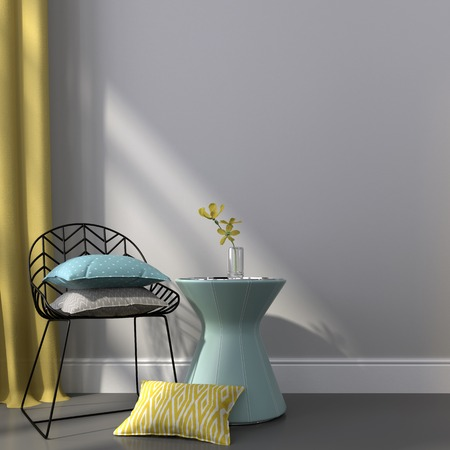 Metal chair with colorful pillows and the table covered with blue skin