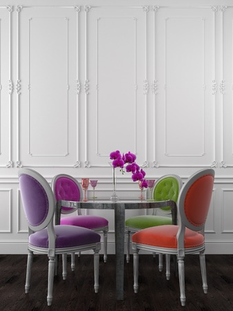violet residential: Classic chairs of different colors near a metal table Stock Photo
