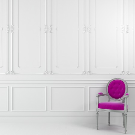 Classic pink chair against a white wall with molding
