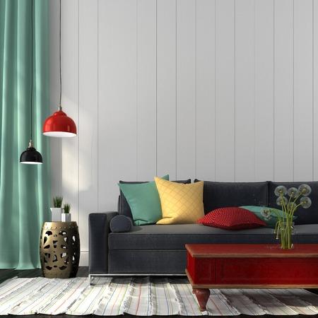 折衷的なスタイルで、モダンなソファ、着色された装飾、古典的な赤のテーブルから成るインテリア