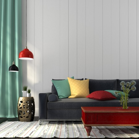 Interior in eclectic style, consisting of modern sofa, colored decor and classic red table